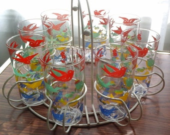 40s / 50s Drinking Glass Set in Round White Carrier, 8 Multicolor Bird Glasses with Caddy