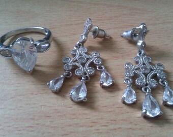 silver ring & earrings