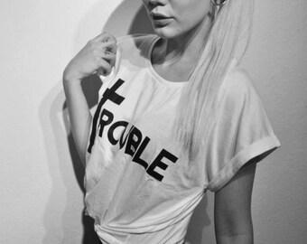 Trouble cross t-shirt top
