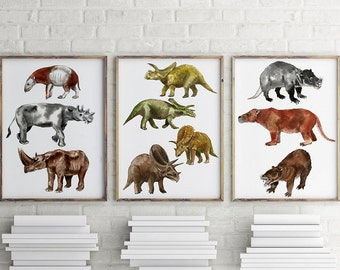 Dinosaur nursery wall art.Dinosaur watercolor. baby Room decor.Nursery decor.kids room.Dinosaur watercolor.Set of 3 prints