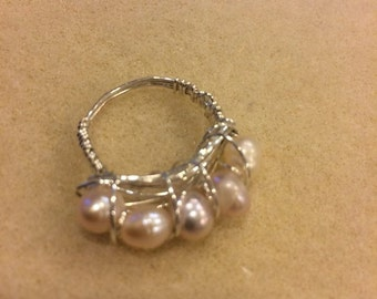 Wire-wrapped freshwater pearl ring, size 5.5