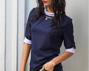 Blouse dark blue Short-sleeved blouse office Navy blue Stand collar Business women blouse Contrast blouse Crepe  chiffon blouse