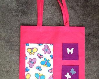 Tote bag - Pink Cerise, Decorated with Felt applique. Butterflies 38 x 40 cm
