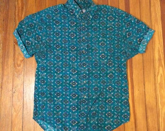 Teal Floral Print Button Down