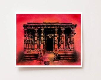 "Indian wall decor, ""Jain temple, Halebidu"", Fine art Giclee print, wall art, Indian architecture, Indian art, charcoal drawing, ink drawing"