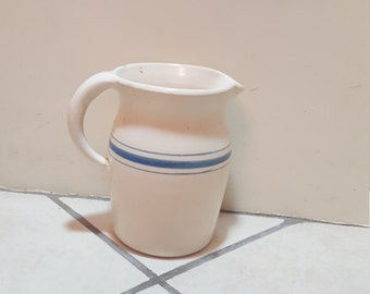 Blue Banded Stoneware Pitcher