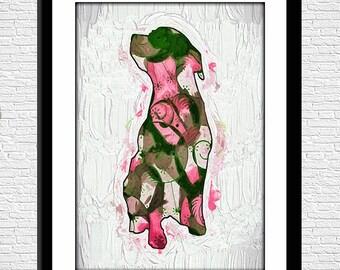 Nursery Art, Dog Digital Print, Instant Download, 8 x 10, Colorful Doggie Digital Art Print