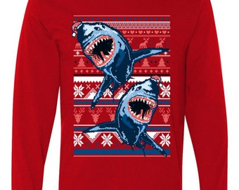 Santa Shark Ugly Christmas Sweater Long Sleeve Shirt