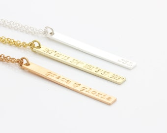 personalized necklace, vertical necklace, name necklace, coordinates necklace initial necklace