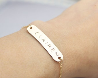 Dainty Personalized Large Bracelet, Nameplate Bracelet, Holiday gift, Bridesmaid Gift