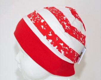 "Great handmade hat ""Spot red Stripes"""