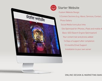 Custom Website - Starter Website - Including Set up - 5 Page Content - Photo Gallary - Social Media