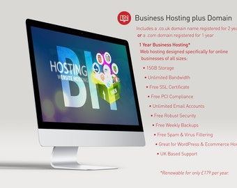 Business Hosting and Domain Name Package - Custom Website