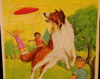Vintage 1980s Whitman LASSIE Frametray Puzzle!!