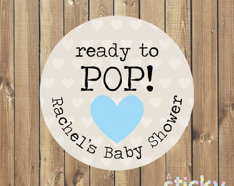 ready to pop stickers baby shower stickers baby shower labels baby shower