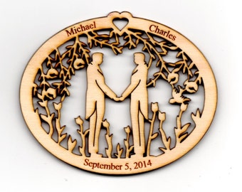 Personalized WEDDING Day Ornament ~ LIFE PARTNER~ Gay Marriage~ Men