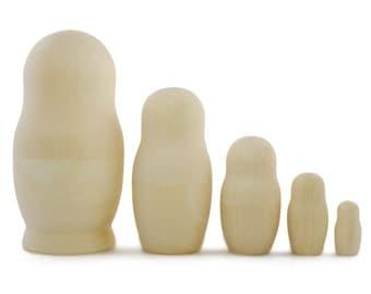 "5.75"" Set of 5 Blank Unpainted Wooden Russian Nesting Dolls- SKU # nds13002"