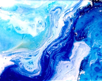 Acrylic print, Fine Art image onto acrylic, Perspex print, Wall Art, Wall decor, Art print blue ultramarine ocean abstract waves white resin
