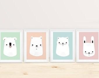 Posters/poster small animal A4: bears, koala, rabbit, cat.