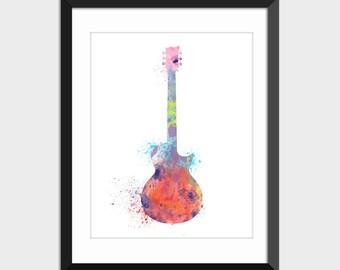 Guitar Music Decor Colorful Watercolor Splattered Art Print, Musical Instrument Printable Art, Colorful Instant Download