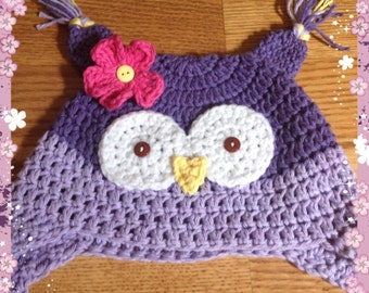 Owl winter hat, girl owl hat, toddler owl hat, baby owl hat, purple owl hat