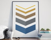 Gold and Navy, Chevron Wall Decor, Wall Prints, Blue and Golden Art, Printable Art, Yellow and Blue Wall Prints