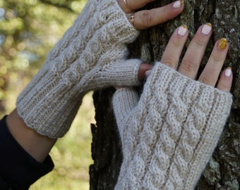 Fingerless mittens. Fingerless gloves, Hand warmers, Arm warmers, Winter gloves, Cable-Knit Fingerless Gloves.