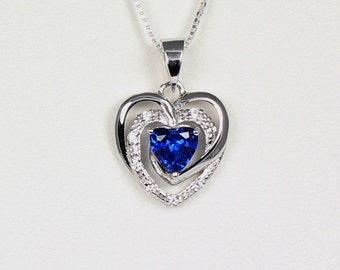 Blue Sapphire Sterling Silver Necklace / Sapphire Pendant