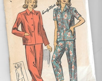 Vintage 1940s 1942 Du Barry Women's Pajama Sewing Pattern 5538 Size 12 Bust 30