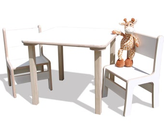 Children's seating group - children's furniture - table and 2 chairs - with white surface coating