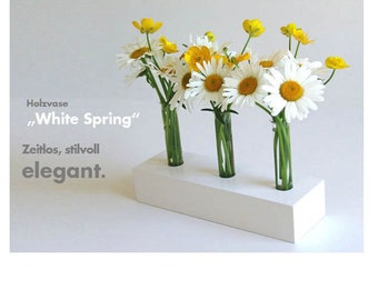 "Timeless and elegant, decorative wood vase - ""white spring"" - with three glass inserts"