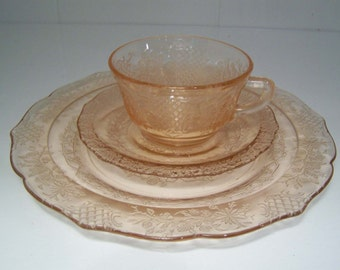 Pink Normandie Depression Glass Plates and Cup