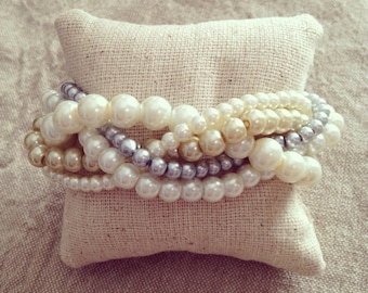 Braided cuff, ivory pearl bracelet, bridesmaids bracelet, ivory bracelet, pearl bracelet, statement bracelet, elegant bracelet, ivory gold