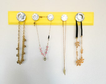 Necklace Hanger, Yellow Necklace Hanger, yellow jewelry hanger, jewelry organizer, necklace display, jewelry display