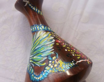Australian Wooden Vase Mystical Dragon painting