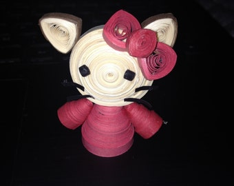 Paper Quilling Cute Pink Hello Kitty Doll Home Decor Craft Quilled Handmade 3D Wall Art Gift