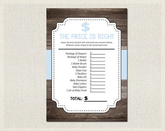 Baby Shower | Rustic Wood Blue Shower The Price is Right Printable - PDF Printable | Boy Baby Shower Games | Instant Download BS-5