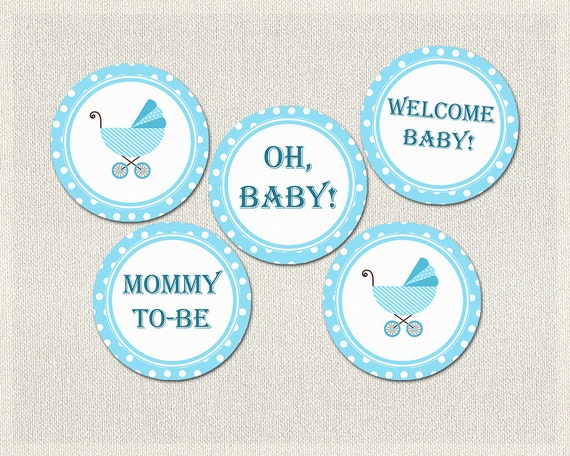 Polka dots cupcake toppers blue boys baby shower printable for Baby shower decoration templates