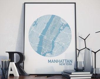 Manhattan, New York City Map Print