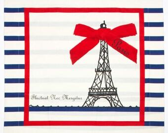 Housse de couette et oreillers Paris rayures marines. Tour Eiffel, noeud rouge, style marin, bateaux, Seine. ParisChéri. Draps. Coton