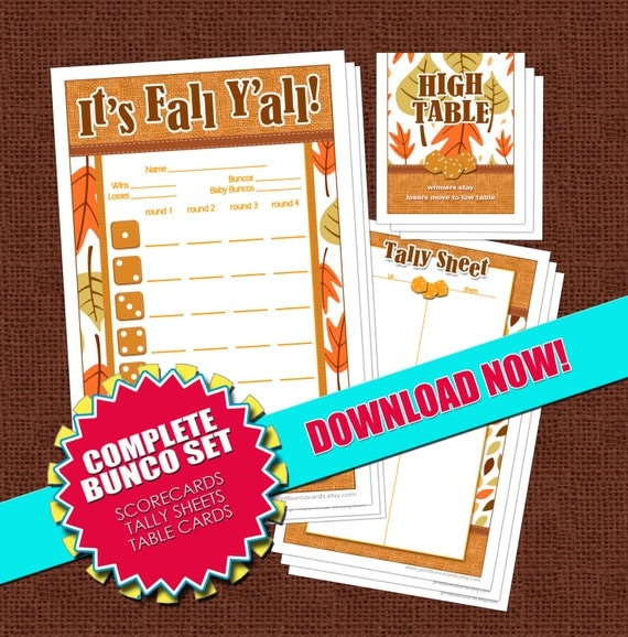 It S Fall Ya Ll Printable Bunco Set By Printbuncocards On Etsy