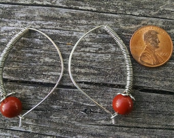 Red Jasper Hoop Earings
