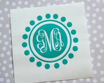 Monogram Car Sticker Etsy - Circle monogram car decal
