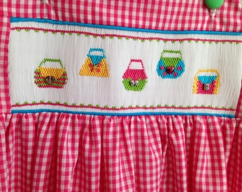 Smocked Gingham Top/ Jumper and Pants , Purses ! Size 5- 6