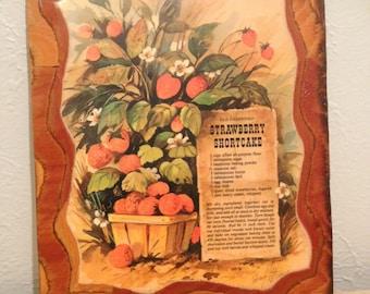 Vinatge wooden Old-Fashioned Strawberry Shortcake recipe wall hanging