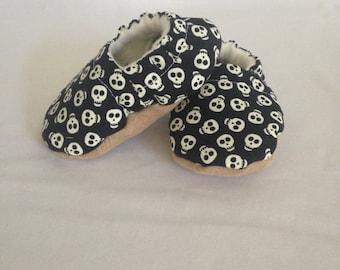 Glow In The Dark Halloween Baby Shoes, Skull Baby Booties