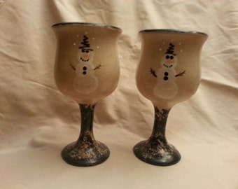 Two Christmas Wine Glasses