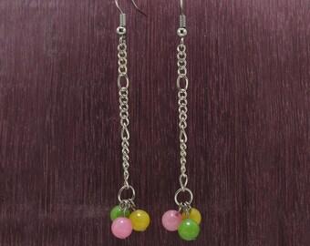 long pink yellow green bead dangle earrings