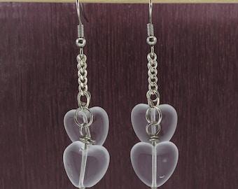 clear glass heart bead earrings