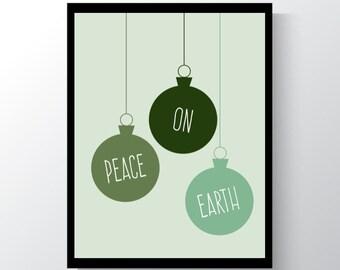 Christmas Printable Art, Peace On Earth,  Christmas Digital Art,  Wall Art, Printable Art, Christmas prints, Christmas Decor, Digital Print